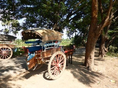 Horse cart in Inwa to drive tourists around