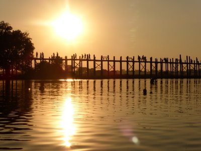 Most known view of Myanmar, U-Bein bridge by sunset