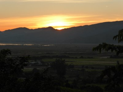 Sunset Inle lake from winery