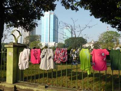Drying cloths absolutely everywhere, even in Yangon
