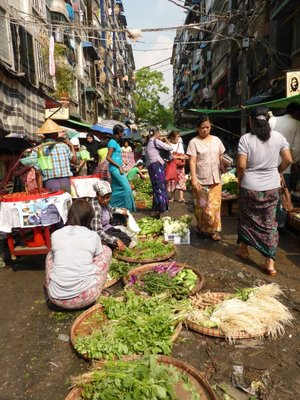Market in Yangon dirty streets