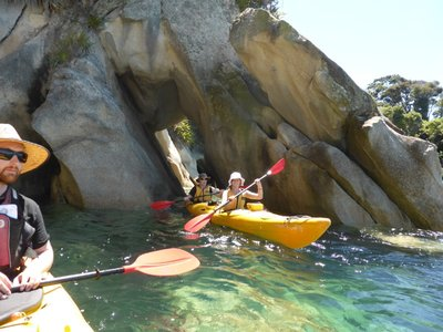 Kayaking through rocky holes, very cool !