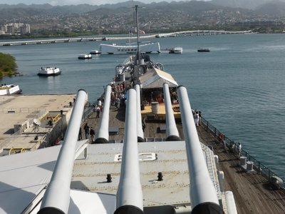 View from USS Missouri battleship