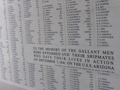 USS Arizona shrine with names of all people that died