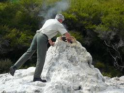 Rotorua Geyser - adding soap!