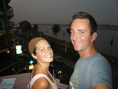 Drinks looking over the Mekong river