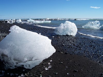 Ice on the black beach