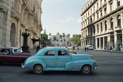 Old car in colonial Havana