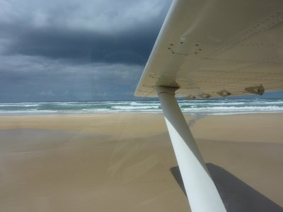 Taking off on 75 Mile Beach, Fraser Island