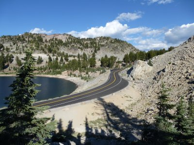 Road through Lassen Volcanic National Park, California