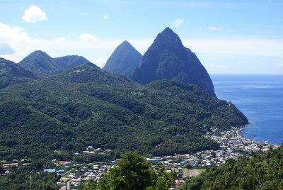 The Pitons towering above Soufriere town