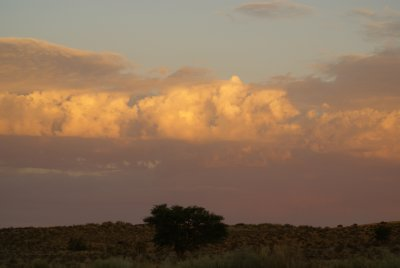 Sun behind the clouds in the Kalahari