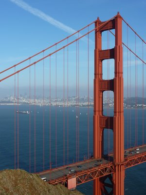 Golden Gate Bridge, San Francisco in the background
