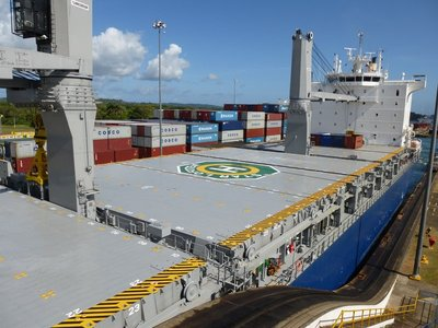 Ship entering the Panama Canal