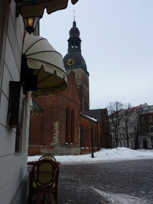 Still to cold to sit outside at Doma Laukums, Riga