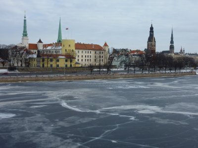 Riga old town as seen from the frozen Daugava River