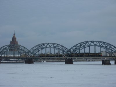 Train entering Riga's central station