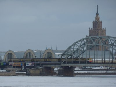 Daugava River: view towards Stalin's Birthday Cake, Riga