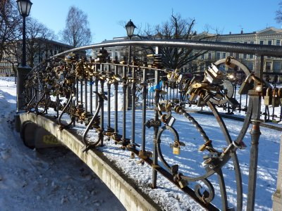 Lock bridge in a Riga park