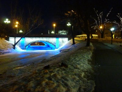 Icy blue bridge, Riga