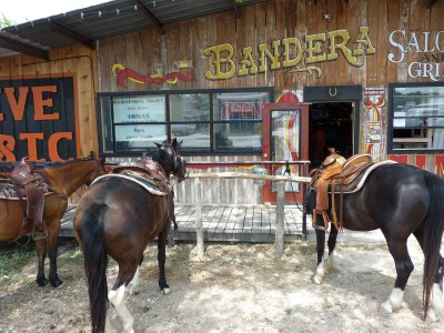 Horses in front of saloon, Bandera, Texas