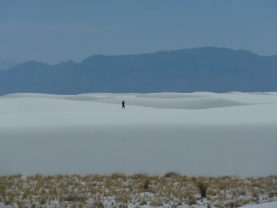 Lonely hiker in White Sands National Monument