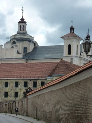 Vilnius backstreet and Church of the Holy Spirit