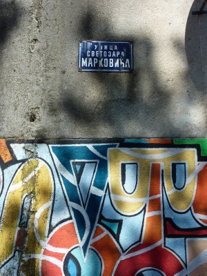 Podgorica street sign and graffity