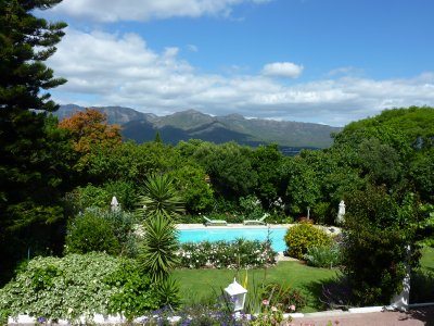 View and pool at our B&B in Paarl