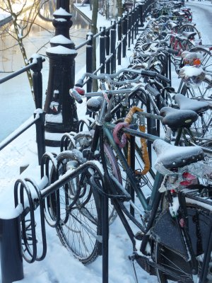 Bikes in the snow, Utrecht