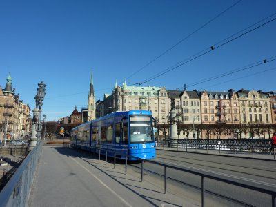 Tram across the bridge to Djurgården, Stockholm