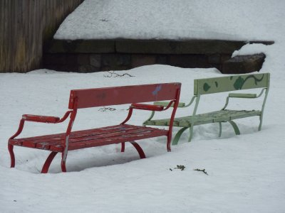 Benches in the snow, Porvoo