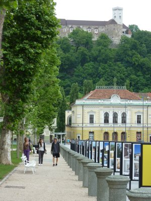 Central Ljubljana with the Castle in the background