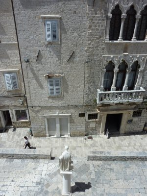 Looking down from the cathedral on Trogir's central square