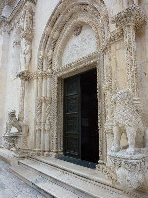 Entrance of cathedral in Sibenik