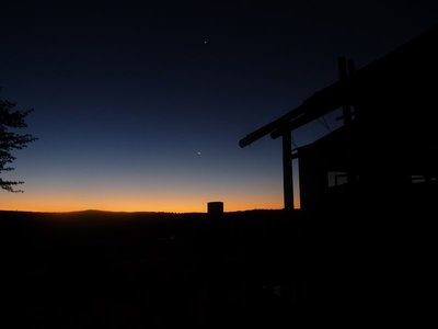 Sunset behind the Kalahari Dunes