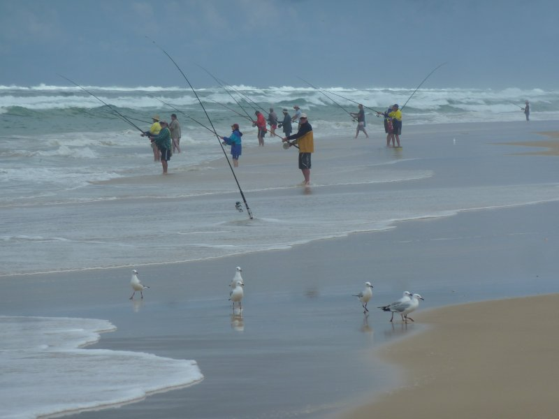 Fishermen on 75 Mile Beach, Fraser Island