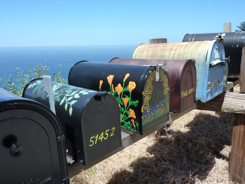Colourful mailboxes along Big Sur, California