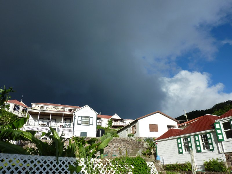 Dark clouds gather over Windwardside, Saba