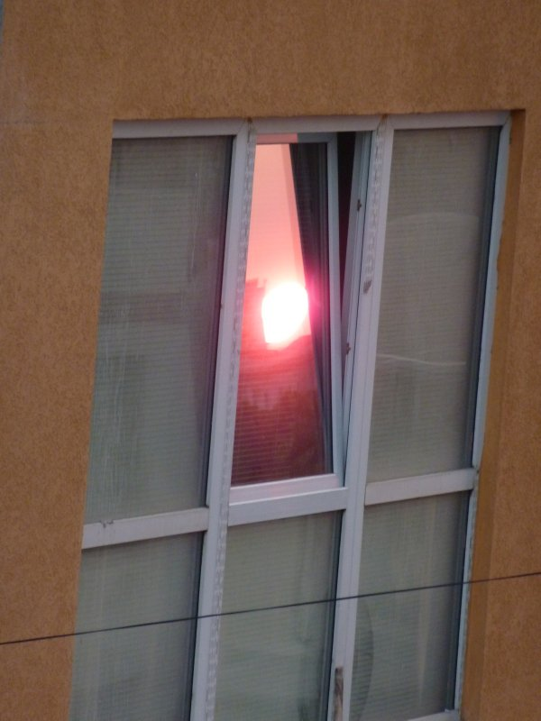 Sunset in Tirana's windows