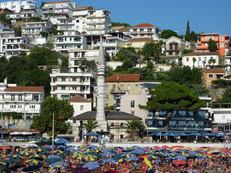 Ulcinj beach and mosque