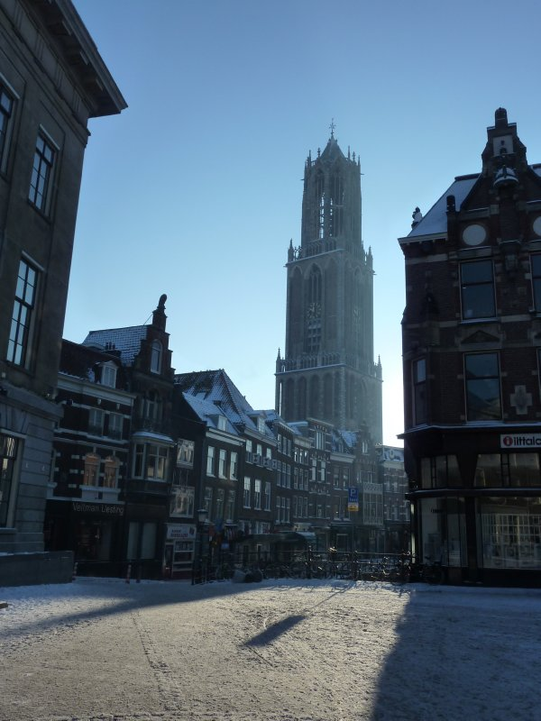 Utrecht's Dom Tower at a very cold winter morning