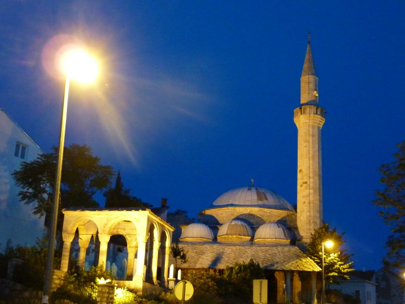 One of Mostar's mosques at night