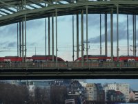 Train crossing the Rhine River, Cologne