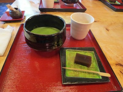 We had traditional Japanese tea and cake.