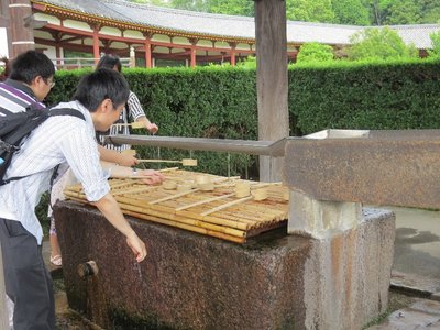 You were suppose to sprinkle water on your hands in a certain way before entering the Tōdai-ji Temple.
