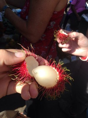 trying weird fruit in the market