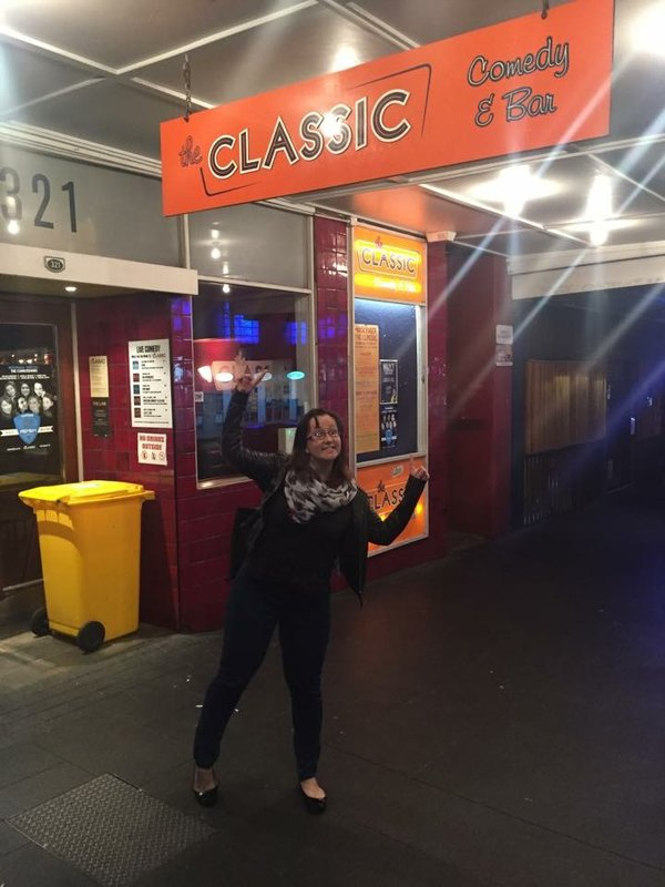 Me outside The Classic comedy club in Auckland