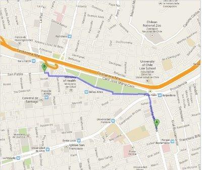 Santiago Map to Mercado