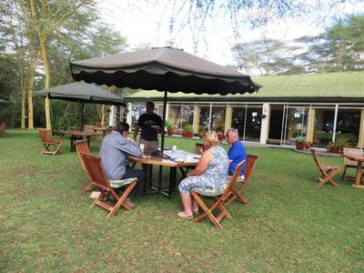 Tea and cake on the lawn at Elsamere, Naivasha, Kenya